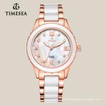 OEM Fashion White Quartz Womens Watch Ceramic&Steel Wristwatch 71004