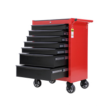 Gabinete de ferramentas de rolamento preto e vermelho para oficinas