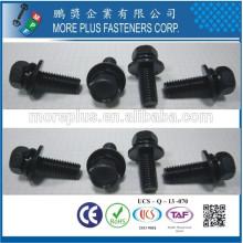 Fabriqué en Taiwan M4x6 Acier inoxydable Hex Socket Vis à tête creuse avec rondelles à ressort Rondelles plates Assembled Sems Screws