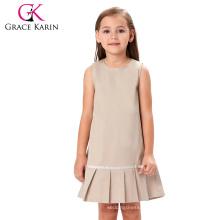 Grace Karin Children Girls Sleeveless Round Neck Khaki Solid Color Pleated Hem Kids Cotton Dress CL008991-2