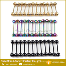 Gold Black Rainbow Stainless Steel Titanium Anodized Tongue Barbell Rings