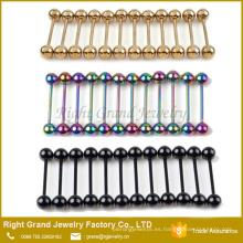 Anillos de barra de lengua anodizados de titanio de acero inoxidable del arco iris negro de oro