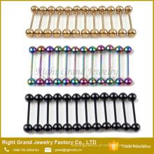 Anéis de barra de língua anodizado de titânio aço inoxidável arco-íris de ouro preto