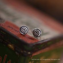 Plata esterlina 925 6.5mm ronda Tiny Stud Earrings Retro Silver Color
