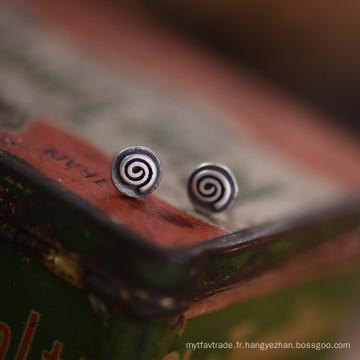 Argent sterling 925 boucles d'oreilles rondes minuscules 6.5mm couleur argent rétro