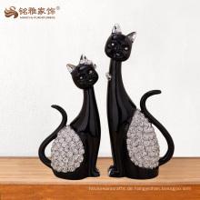 Bestes verkaufendes Produktausgangsdekorationharzschwarzes schnitt Katzefigürchen für Geschenke