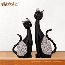 Best selling products home decoration resin black cut cat figurine for gifts