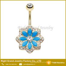Anel de umbigo de aço cirúrgico de cristal chapeado ouro da flor de Lotus do esmalte azul de cristal