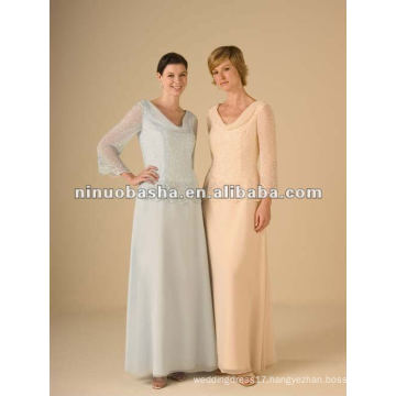 Elegant Neckline Long Sleeve Mother Dress