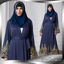 Americano europeo S-5XL mejores mujeres florales del cordón musulmán suave del poliéster se visten negro Dubai Abaya