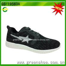 Calzado respirable de alta calidad del deporte de los hombres del calzado de la aptitud negra