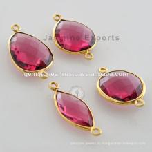 Позолоченная Позолоченные Разъемы Драгоценный Камень Розовый Турмалин