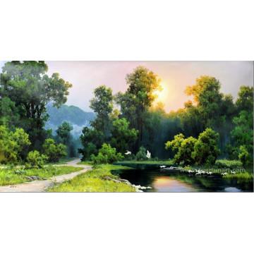 Décoration murale de haute qualité Peinture de paysage chinoise sur toile (ETL-127)