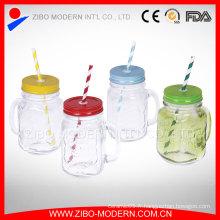 Poubelle à base de jus de verre carré, pot de maçonnerie coloré sans poignée