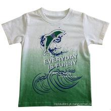 T-shirt do menino para a roupa das crianças com a cópia da água na qualidade macia Sqt-606