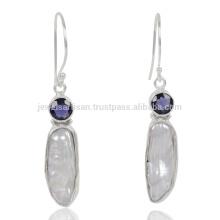 Natural Iolita Y Perla De Biwa Piedra Preciosa 925 Streling Sliver Earring
