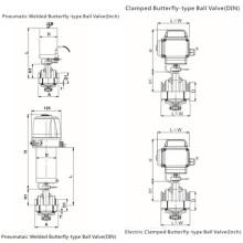 Vanne à bille pneumatique à papillon pneumatique / électrique sanitaire