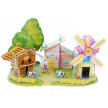 Quebra-cabeça do moinho de vento 3D casa