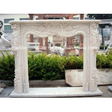 Hot Selling Modern Style Marble Fireplace with Flowers (SY-MF129)