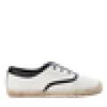 Off white&Black Espadrille flats canvas upper rubber sole jute shoes