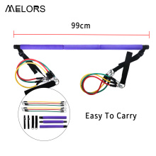 Melors Adjustable and Portable Yoga Pilates Exercise Stick Pilates Bar Kit with Resistance Bands for Total Body Workout