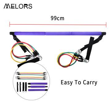 Melors ajustável e portátil Yoga Pilates Exercise Stick Kit de barra de pilates com bandas de resistência para treino de corpo inteiro