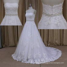Stunning Sweetheart Adorned Pearl Zipper Lace A Line Wedding Dress