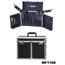 Peluquería de aluminio llevar casos con 2 bandejas interior
