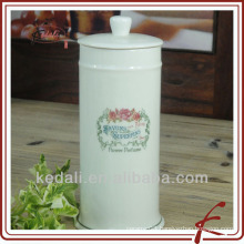 white glaze ceramic colored decal facial tissue holders