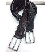 Pin Buckle Embossed Men Leather Belt