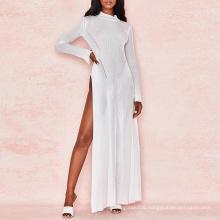 White Fine Rib Sheer Cut Out Maxi Dress
