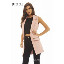 Sleeveless Longline Suede Blazer Women Jacket