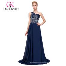 Grace Karin un hombro pesado con cuentas de gasa azul marino largo vestido de baile CL4506-2