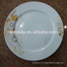 2015 placa de cena de porcelana popular borde redondo con la calcomanía de oro