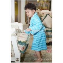 Bleu rayé imprimé enfants enfants molleton chaud doux peignoir avec capuche