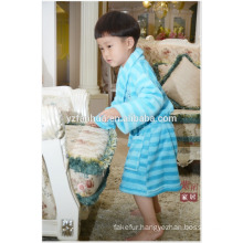 Blue Stripe Printed children kids Soft Warm Fleece bathrobe with Hood