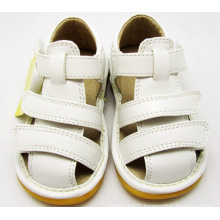Solid White Baby Boy Squeaky Sandals