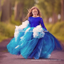 2017 Girl Party Dress Children Frocks Designs Blue Color New Model Girl Dress