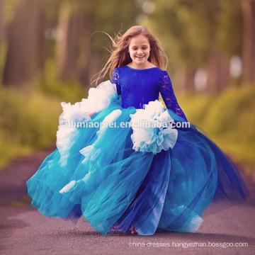 2017 Girl Party Dress Children Frocks Designs Blue Color New Model Girl Dress