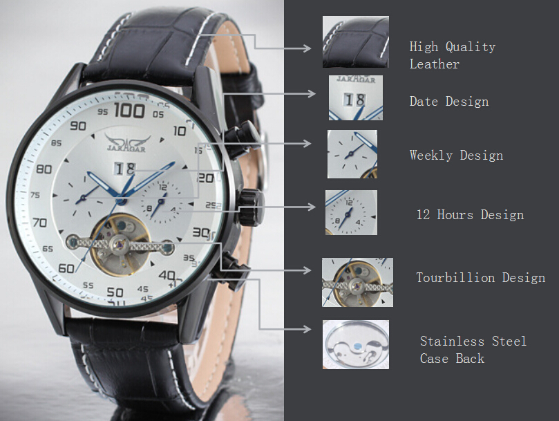 Mens Leather Band Tourbillon Casual Wrist watches