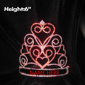 Crystal Heart Valentine Pageant Crowns In Red Pink Rhinestone