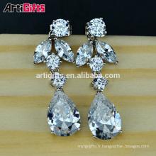 Nouveau style Boucles d'oreilles en or blanc plaqué or zircon diamant de luxe