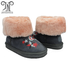 Girls winter warm leather kids furry ankle boots