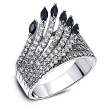 Hollow Design Cubic Zircon Indians Feather Women CZ Ring