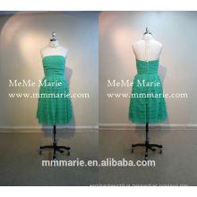 Pequenos padrões da festa da noite Green Layered Knee Length Dress da dama de honra meninas de festa