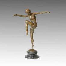 Dancer Bronze Garden Sculpture Billycock Lady Deco Brass Statue TPE-157