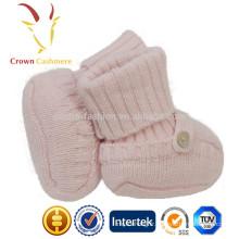 Bottes en cachemire hiver tricoté bébé chaussures avec motif