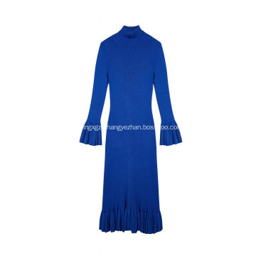 Women's Knitted Ribbed Stretchable Bell Sleeve Long Dress