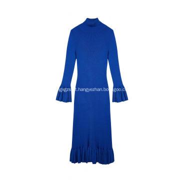 Vestido longo feminino com malha elástica elástica em malha