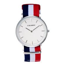 Reloj de pulsera de nylon con correa plateada Caja blanca con marcador de 12 puntas en plata